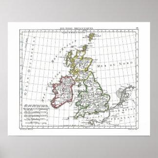 1806 mapa - islas Britanniques de Les Poster