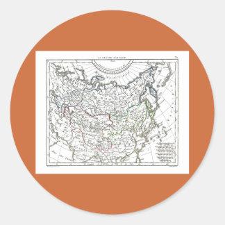 1806 mapa - La grande Tartarie Pegatina Redonda