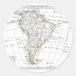 1806 mapa - L'Amérique Méridionale Pegatinas Redondas