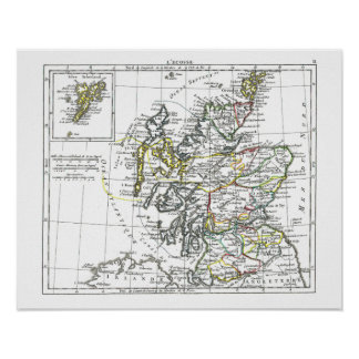 1806 mapa - L'Ecosse Poster