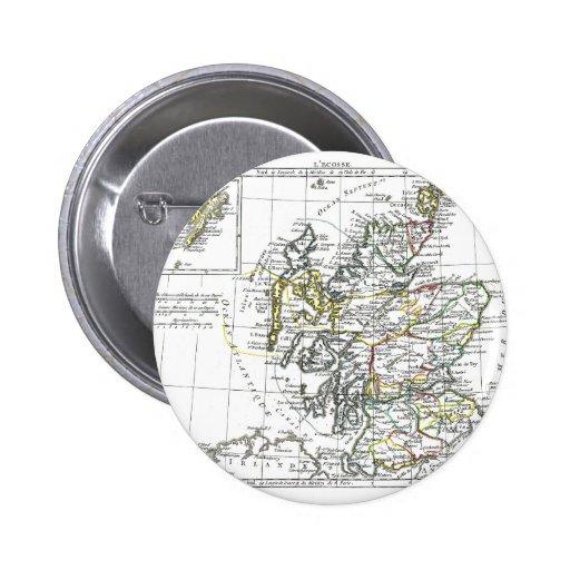 1806 mapa - L'Ecosse Pin Redondo De 2 Pulgadas