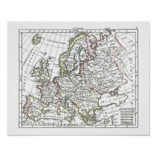 1806 mapa - L'Europe Posters