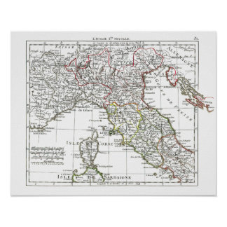 1806 mapa - L'Italie 1ere Feuille Poster