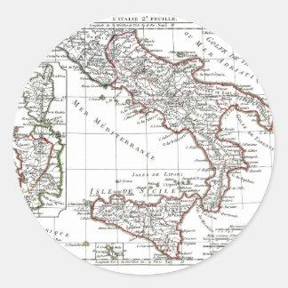 1806 mapa - L'Italie (Sud) Pegatina Redonda