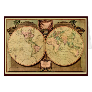 1808 Captain Cook's double-hemisphere World Map Card