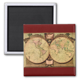 1808 Captain Cook's double-hemisphere World Map Refrigerator Magnets