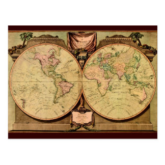 1808 Captain Cook's double-hemisphere World Map Postcard