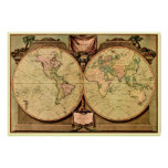 1808 Captain Cook's double-hemisphere World Map Poster