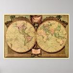 1808 mapa del mundo del doble-hemisferio de capitá poster