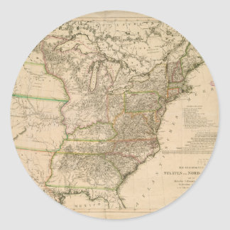 1809 Map of the United States of North America Classic Round Sticker