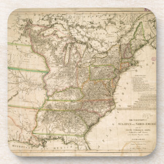 1809 Map of the United States of North America Beverage Coasters