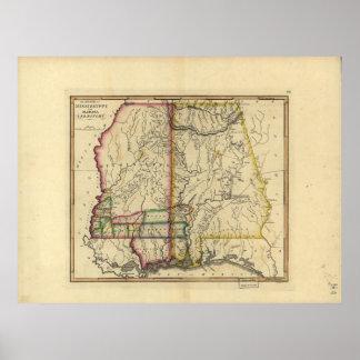 1810's Map of Mississippi & Alabama Poster
