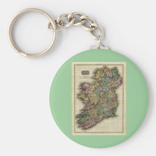 1813 Ireland Map by John Pinkerton Basic Round Button Keychain
