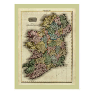 1813 Ireland Map by John Pinkerton Postcard