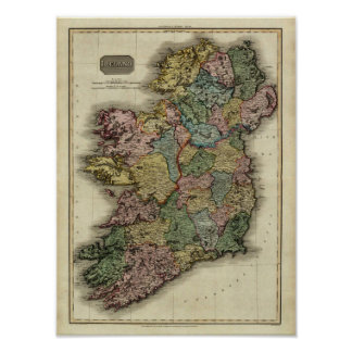 1813 Ireland Map by John Pinkerton Poster