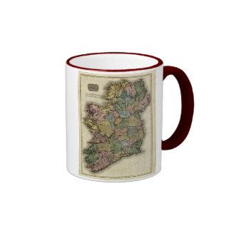 1813 Ireland Map by John Pinkerton Ringer Coffee Mug