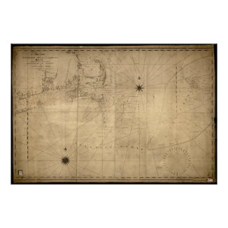 1813 Map of Nantucket Shoals & George's Bank, MA Poster