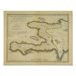 1814 Haiti Map by Mathew Carey Poster
