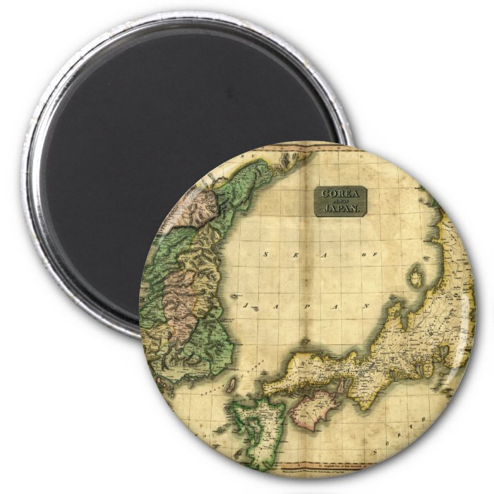 1815 Map of Korea and Japan 2 Inch Round Magnet