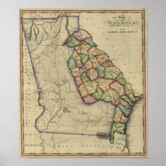 1817 el estado de Georgia del atlas de Samuel Póster