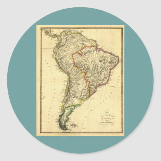 1817 Map of South America Round Stickers