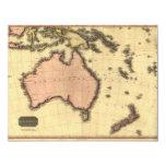 1818 Australasia  Map - Australia, New Zealand 4.25x5.5 Paper Invitation Card