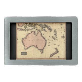 1818 Australasia Map - Australia, New Zealand Rectangular Belt Buckles