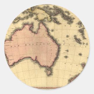 1818 Australasia  Map - Australia, New Zealand Classic Round Sticker