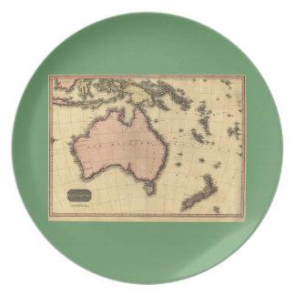 1818 Australasia  Map - Australia, New Zealand Dinner Plate