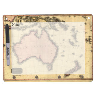 1818 Australasia Map - Australia, New Zealand Dry Erase Board With Keychain Holder