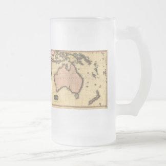 1818 Australasia  Map - Australia, New Zealand Frosted Glass Beer Mug