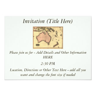 1818 Australasia Map - Australia, New Zealand Personalized Invite