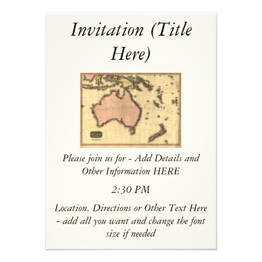1818 Australasia Map - Australia, New Zealand Personalized Invitation