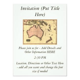 1818 Australasia Map - Australia, New Zealand 6.5x8.75 Paper Invitation Card