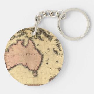 1818 Australasia Map - Australia, New Zealand Keychain