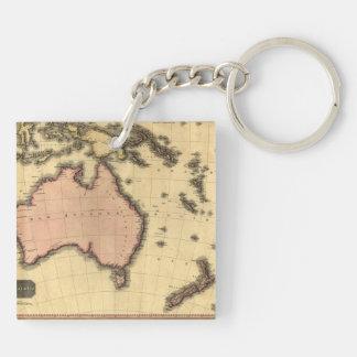 1818 Australasia Map - Australia, New Zealand Square Acrylic Keychains