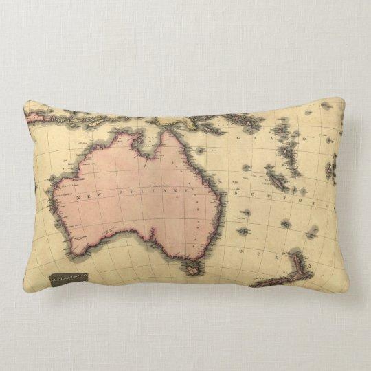 1818 Australasia Map - Australia, New Zealand Lumbar Pillow