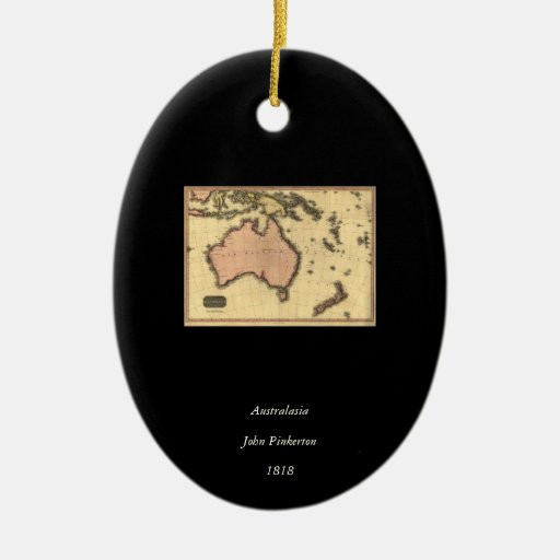 1818 Australasia Map - Australia, New Zealand Double-Sided Oval Ceramic Christmas Ornament