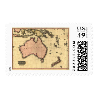 1818 Australasia  Map - Australia, New Zealand Stamps