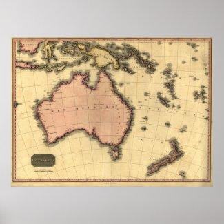 1818 Australasia Map - Australia, New Zealand Poster