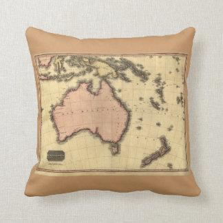 1818 Australasia Map - Australia, New Zealand Throw Pillow