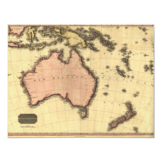 1818 mapa de Australasia - Australia, Nueva Invitación 10,8 X 13,9 Cm