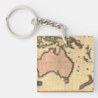 1818 mapa de Australasia - Australia, Nueva Llavero Cuadrado Acrílico A Doble Cara