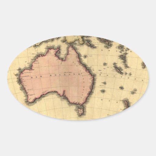 1818 mapa de Australasia - Australia, Nueva Calcomanías De Ovales