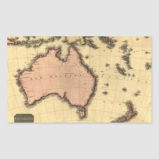 1818 mapa de Australasia - Australia, Nueva Pegatina Rectangular