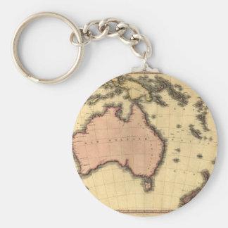 1818 mapa de Australasia - Australia, Nueva Zeland Llavero Redondo Tipo Pin