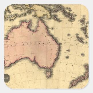 1818 mapa de Australasia - Australia Nueva Zeland Calcomania Cuadradas