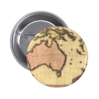 1818 mapa de Australasia - Australia, Nueva Zeland Pin Redondo 5 Cm