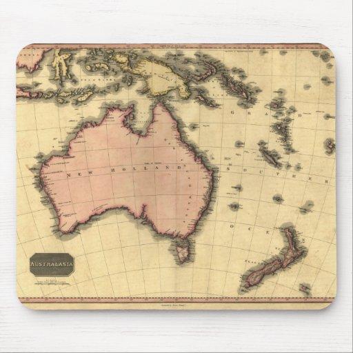 1818 mapa de Australasia - Australia, Nueva Zeland Alfombrillas De Ratón