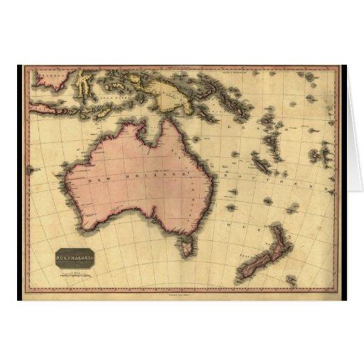 1818 mapa de Australasia - Australia, Nueva Zeland Tarjetas